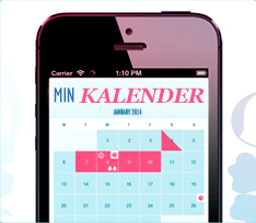 Bild på en mobiltelefon som har en menstruationskalender öppen. Bilden illustrerar hur det kan se ut om du använder den mobila applikationen o.b. Menskalender
