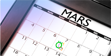 Bild på en kalender med en dag inringad i grön färg. Information om den mobila applikation: o.b.®:s Menskalender.
