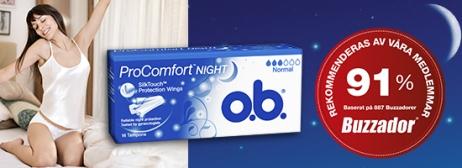Bild på två förpackning av o.b. ProComfort Night Normal och Super. Produkten har 3 respektive 4 bloddroppar och indikerar att de passar bra för normala och rikliga mensblödningar under natten.