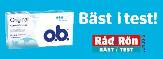 Bild på två förpackning av o.b. Original Normal och Super. Produkten har 3 respektive 4 bloddroppar och indikerar att de passar bra för normala och rikliga mensblödningar.