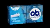 Bild på en förpackning av o.b. ProComfort Normal. Produkten har 3 bloddroppar och indikerar att den passar bra för normala mensblödningar.