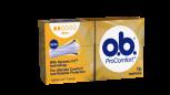 Bild på en förpackning av o.b. ProComfort Mini. Produkten har 2 bloddroppar och indikerar att den passar bra för små mensblödningar.