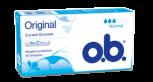 Bild på en förpackning av o.b. Original Normal. Produkten har 3 bloddroppar och indikerar att den passar bra för rikliga mensblödningar.