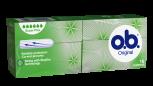 Bild på en förpackning av o.b. Original Super Plus Produkten har 5 bloddroppar och indikerar att den passar bra för väldigt rikliga mensblödningar.