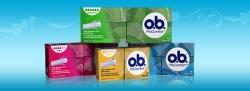 Bild på olika produkter från o.b. tamponger. O.b. Original och o.b. ProComfort.
